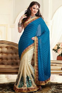 Off White,Blue  Silk,Viscose,Faux Georgette Saree with Patch Work,Stone Work,Lace Work