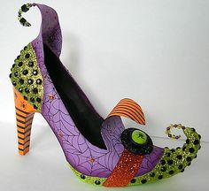 Spider Web Altered Witch Shoe by Seeing Things Art Apothecarium