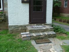 We Show The Way We Construct Steps Using Wall Stones With Photos & Descriptions - Newtown Square PA from Robert J. Concrete Projects, Backyard Projects, Backyard Patio, Landscape Steps, Landscape Design, Outdoor Landscaping, Outdoor Decor, Landscaping Ideas, Front Porch Steps
