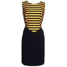 Preowned Moschino Cheap & Chic Vtg 80s Yellow & Black Bumble Bee... (22.325 RUB) ❤ liked on Polyvore featuring dresses, yellow, 1980s dresses, pre owned dresses, yellow striped dress, bee dress and yellow dress