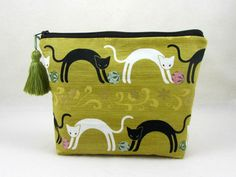 Makeup bag, cosmetic case,  cotton cat pouch, cosmetic organiser, womens zipper pouch, toiletry storage by JRsbags on Etsy