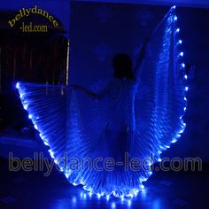 LED isis wings belly dance club show girl light performance blue white, blue, or both, this one looks like a cheshire cat smile :)