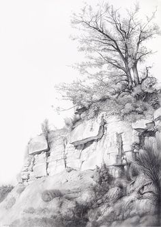 Somontano Dibujado by Carlos Castillo Seas Easy Pencil Drawings, Pencil Art Drawings, Drawing Sketches, Sketching, Charcoal Drawings, Landscape Sketch, Landscape Drawings, Landscape Art, Drawing Rocks