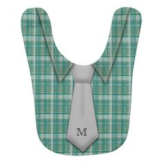 Monogrammed Teal Boy's Shirt Tie Funny Cute Baby Bib http://www.zazzle.com/monogrammed_teal_boys_shirt_tie_funny_cute_zazzlebabybib-256567798979900009?rf=238756979555966366&tc=PtMPrssKMTkidsbby Little man just like his father, this cute baby boy's bib features a plaid collar shirt with a light gray neck tie and with monogram first name initial just like a business baby!