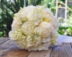 Silk Wedding Bouquet in shades of White and Blush  Peony & Buds Stock Flowers Lily of the Valley, Ranunculus Sweet pea Bridal Bouquet - Ava
