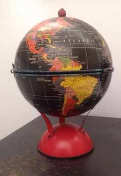 """Vintage Replogle Globes Inc 6"""" Surprise Globe Tin Wood Tip.  Oh my, yes please!"""