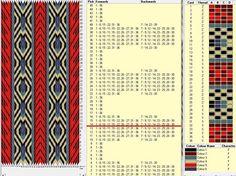 36 cards, 6 colors, repeats every 13 rows 🔹 Inkle Weaving Patterns, Weaving Textiles, Loom Patterns, Card Weaving, Weaving Art, Loom Weaving, Iris Folding Pattern, Finger Weaving, Inkle Loom