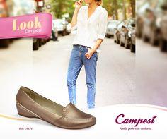 Quer contrastar o sapato com o jeans? Aposte em um Campesí metalizado e dê ainda mais destaque para os seus pés!