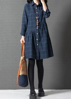 Turndown Collar Long Sleeve Plaid Print Dress on sale only US$32.06 now, buy cheap Turndown Collar Long Sleeve Plaid Print Dress at lulugal.com