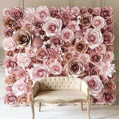 Flower Wall Backdrop, Paper Flower Backdrop Wedding, Wall Backdrops, Flower Wall Wedding, Paper Flower Decor, Diy Backdrop, Large Paper Flowers, Backdrop Design, Floral Backdrop