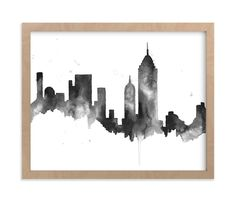 """""""New York City Skyline"""" - Limited Edition Art Print by Kelsey McNatt in beautiful frame options and a variety of sizes. Skyline Painting, City Painting, Oil Painting Abstract, Watercolor Painting, New York Painting, Watercolors, City Skyline Art, City Art, Nyc Skyline"""