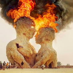 UK: One of the main sculptures at Burning Man finale.