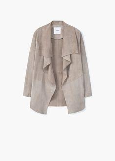 Suede waterfall jacket | MANGO