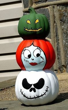 Nightmare before Christmas pumpkin decor #jack #sally