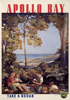 Apollo Bay, Victoria, Australia by James Northfield vintage_poster Vintage Advertising Posters, Vintage Travel Posters, Vintage Advertisements, Vintage Ads, Vintage Airline, Vintage Surf, Retro Posters, Poster Vintage, Posters Australia