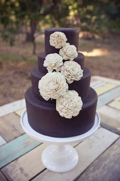 Would you have thought to do a dark wedding cake like this? Love it!!! I havent told the baker a finial yes on the design on the cake... thinking about changing!!!!!!! El pastel en azul!y la decoracion en colores claros!