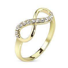 7b3bebcaeabf Paula   Fritz anillo de acero inoxidable bañado en oro de 14 K oro infinito  Circonita