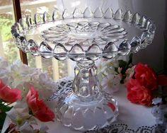 EAPG ANTIQUE GLASS PEDESTAL CAKE STAND PLATE . JOB'S / JACOB'S TEARS aka ART