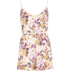 River Island White blossom print cami Romper (€36) ❤ liked on Polyvore featuring jumpsuits, rompers, dresses, playsuits, white, caftans / cover-ups, swimwear / beachwear, women, white floral jumpsuit and white camisole