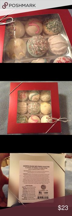 Assorted Holiday Bath Truffles Set Of 9 NIB This Is A Wonderful Set Of All Natural No Animal Testing Luscious Bath Truffles That Ae Sugar Plum, Gingerbread, Candy Cane, Creme Brûlée , Cinnamon, Hot Cocoa, Sugar Cookie, Eggnog And Last Pumpkin Spice! The Are Rich Moisturizing Bath Fizzles ! Just Submerge In Bath WaterAnd They Will Activate And Release Moisturizing Scents And Moisturizing Bath! Thanks! Enjoy!❤️HOLIDAY SALE❤️ fuzz & Bubble Other