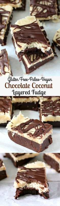 Layered Chocolate Coconut Fudge - Paleo,  Vegan, and Gluten-Free too! Enough layers of grainless fudge, chocolate, and coconut to get your mouth watering. You'll swear off regular fudge forever. | The Paleo Running Mama