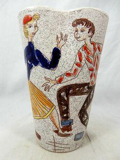 "Rare 60´s Italian Alla Moda pottery Fratelli Fanciullacci design vase "" Teens "" in Antiquitäten & Kunst, Design & Stil, 1960-1969   eBay!"
