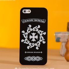 cafaf98a6cf2 White Chrome Hearts Logo and Crosses Black iPhone Case