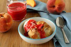 Peach Dumplings with Raspberry Sauce | www.chocolatemoosey.com