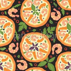 Shrimp Pizza Rapportmuster by Irina Trigubova at patterndesigns.com Vektor Muster, Shrimp Pizza, Surface Design, Tasty, Patterns, Essen, Block Prints, Pattern, Models