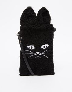 ASOS Furry Cat Phone Pouch with Strap