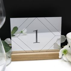 Mirror Silver Geometric Table Number - Acrylic with Timber Base - Engraved Wedding Table Decoration - Cafe Restaurant Wedding Mirror, Acrylic Table, Modern Art Deco, Wedding Decorations, Table Decorations, Wedding Table Numbers, Personalized Wedding Gifts, Table Centerpieces, Wedding Signs