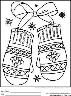 Printable Winter Coloring Pages Mittens Sheets And Pictures