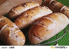 Pšeničné bagetky z kvásku recept - TopRecepty.cz Hot Dog Buns, Hot Dogs, Bread, Food, Brot, Essen, Baking, Meals, Breads