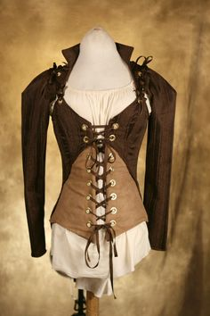 Brown Steampunk Jacket and Corset Set CUSTOM by damselinthisdress. With leather pants or a flared scarf skirt.