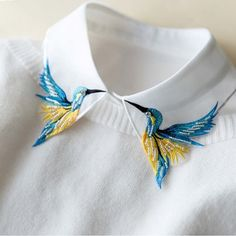 Newly Design Fashion Heavy bird embroidery necklace vest blouse Shirt false Collar neck Women Detachable Vertical Small Lapel -in Blouses & Shirts from Women's Clothing & Accessories on Aliexpress.com | Alibaba Group