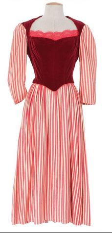 Designed by Gile Steele. Worn at the Paris theatre in Scaramouche. Also worn by an extra backstage in I Love Melvin (1953)