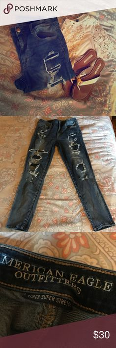 AEO destroyed Hi-rise super stretch jegging 12 Crop or short length skinny jeggings. Lots of stretch but don't bag out. Factory distressed. In excellent condition. American Eagle Outfitters Jeans Skinny