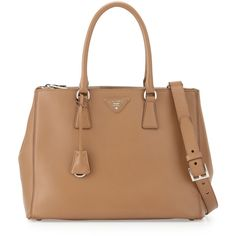 Prada City Calfskin Bicolor Double-Zip Galleria Tote Bag ($2,455) ❤ liked on Polyvore featuring bags, handbags, tote bags, prada, prada tote, double zip handbag, calfskin handbag and beige tote bag