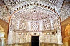 Sheesh Mahal-[palace of mirrors]Imagine a room in palace where every inch of the walls and ceiling is covered with thousands of  small inset mirrors- Sheesh Mahal- A must see in India