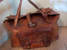 Antique leather weekender bag handbag