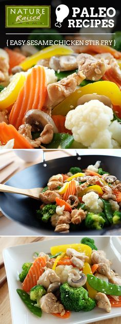 Who said paleo dishes were boring? We love this simple, tasty and very colorful paleo Sesame Chicken Stir-fry! | NatureRaised Farms Recipe