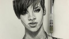 How To Draw Rihanna - Narrated- (ONE PENCIL) - YouTube