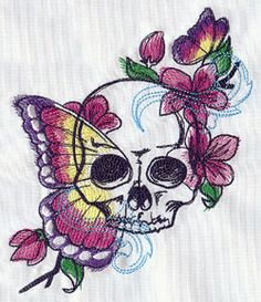 Painted Vanitas - Thread List | Urban Threads: Unique and Awesome Embroidery Designs