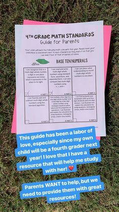 Distance Learning: Grade Math - A Guide for Parents Teaching Reading, Teaching Math, Math Teacher, Teacher Stuff, Learning, Fifth Grade Math, Fourth Grade, 4th Grade Classroom, Future Classroom