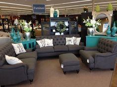 living room color scheme. LOVE the dark gray and teal. by thelma