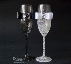 LACE Black & White Wedding  champagne glasses/ bride by DiAmoreDS, $48.00