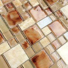 Glass stone mosaic wall tile stone kitchen backsplash tiles SGMT160 yellow glass tiles bathroom mosaic tile [SGMT160] - $22.79 : MyBuildingShop.com