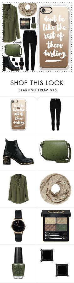"""Perfect Weekend 💚"" by casetify ❤ liked on Polyvore featuring Casetify, River Island, Miu Miu, Angela Roi, WithChic, John Lewis, Freedom To Exist, Gucci and OPI"