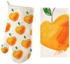 "Margaret Berg Art: ""Life is Peachy"" Oven Mitt and Dishcloth"