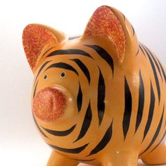 Personalized Piggy Bank  Tiger  with hole or NO hole by ThePigPen, $42.50